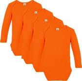 Link Kidswear - Unisex Romper lange mouw - Maat 50/56 - Oranje - 4 stuks