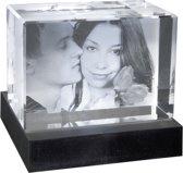2D Foto in hoogwaardig glas. Afm: 130 x 90 x 75 mm. Liggend formaat   Huwelijk   Valentijn   Kerstmis   Cadeau