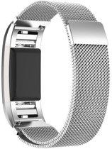 Milanees Horloge Band Voor de Fitbit Charge 2 - Milanese Watchband - Armband RVS - Small/Large Zilverkleurig