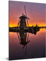 Kleurrijke hemel bij de Kinderijkse Molens in Nederland tijdens zonsondergang Aluminium 120x180 cm - Foto print op Aluminium (metaal wanddecoratie) XXL / Groot formaat!