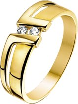 The Jewelry Collection Ring Zirkonia Poli/mat - Geelgoud