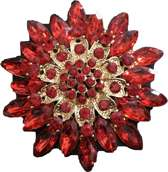 Broche bloem rood