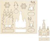 DIY Houten figuren, kerk, kerstbomen, rendier, l: 15,5 cm, b: 17 cm, triplex, 1doos, dikte 3 mm