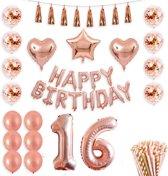Sweet 16 versiering - 16 Jaar Verjaardag Versiering - Rose Goud - All-in-one Feestpakket - 16de verjaardag - Feestje - Ballonnen - Confetti - Happy Birthday - Verjaardag Meisje - Doe het zelf