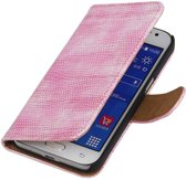 Samsung Galaxy Xcover 3 G388F Roze   Lizard bookstyle / book case/ wallet case Hoes    WN™