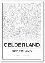 Poster/plattegrond GELDERLAND - 30x40cm