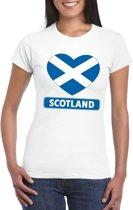 Schotland hart vlag t-shirt wit dames L