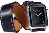 Kakapi Leren bandje - Apple Watch Series 1/2/3/4 (38&40mm) - Zwart