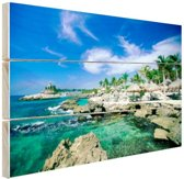 Rotsformaties in de zee Mexico Hout 30x20 cm - Foto print op Hout (Wanddecoratie)