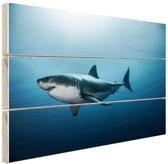 FotoCadeau.nl - Zijaanzicht grote witte haai Hout 80x60 cm - Foto print op Hout (Wanddecoratie)