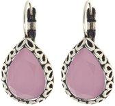 Biba oorbellen druppel roze steen |bewerkte rand