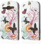 Butterfly wit Flip Hoesje Samsung Galaxy Ace 4
