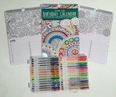 Verjaardagskalender -groen- inkleuren met 30 gelpennen