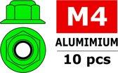 Team Corally - Aluminium zelfborgende zeskantmoer met flens - M4 - Groen - 10 st
