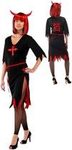 Jurk Zwart Rood Halloween Volwassenen - M/L