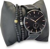 Kaliber 7KA SET006 Horloge Set met Armbanden - Leren Band - Ø 40 mm - Zwart / Rosékleurig