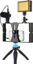 PULUZ 4 in 1 Vlogging Live-uitzending LED Selfie Light Smartphone-videotoestkits met microfoon + statief mobiele telefoon + Cold Shoe-statiefkop voor iPhone, Galaxy, Huawei, Xiaomi, HTC, LG, Google en andere smartphones (blauw)