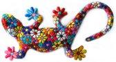 Barcino design barcelona mozaiek gekko muurhanger in bloemdesign 13.5 cm