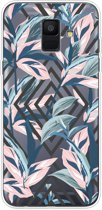 Samsung Galaxy A6 (2018) hoesje - Softcase - Pastel Leaves