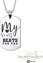 Ketting RVS - My Heart Beats For You - Valentijn / Liefde Kado