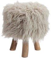 Krukje/poef Jane fleece grijs 39,5x30x30