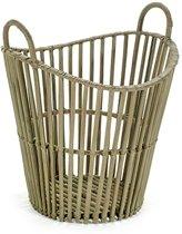 Maison Péderrey Rieten mand met hengsel-Slat Basket Bamboe-Riet Beige-Naturel-Grijs  D 45 cm  30 cm Hoog 45 cm
