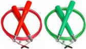 #DoYourFitness - 2x Speed Rope - »Rapido« - Springtouw met stalen kabel - 300 cm - rood & groen