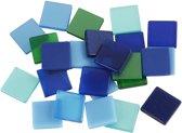 Mini mozaiek afm 10x10 mm dikte 2 mm blauw/groen harmonie 25gr