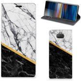 Sony Xperia 10 Plus Standcase Marble White Black
