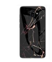 Let op type!! Marmeren glas beschermhoes voor Galaxy J6 plus (zwart goud)