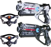 2x Light Battle lasergame pistool camo grijs en wit + 2 VIP maskers