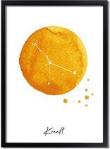 DesignClaud Sterrenbeeld poster Kreeft – Geel A2 + fotolijst wit (42x59,4cm)