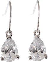 Oorbel met hanger, druppelvormig met een zirconia steen