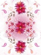 Fotobehang Papier Bloemen   Roze, Wit   184x254cm