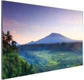 Indonesie Bali rijstvelden en vulkanen Aluminium 60x40 cm - Foto print op Aluminium (metaal wanddecoratie)