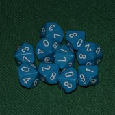 10 Tienzijdige Dobbelstenen Licht Blauw met Wit