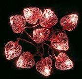 Lichtslinger met rode harten - set van 2 stuks