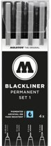 Molotow Blackliner 4x marker set 1 - Fineliner set met 4 maten schetspennen