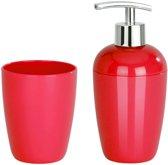 WENKO rode badkamerset met kunststof beker en zeeppompje