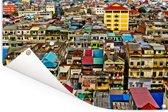 De kleurrijke wijk van Phnom Penh in Azië Tuinposter 180x120 cm - Tuindoek / Buitencanvas / Schilderijen voor buiten (tuin decoratie) XXL / Groot formaat!