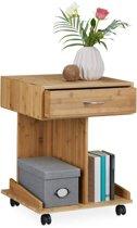relaxdays - bijzettafel met wielen   lade bamboe - salontafel - 2 planken mobiel