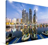 Boten in het water voor Busan in Zuid-Korea Canvas 60x40 cm - Foto print op Canvas schilderij (Wanddecoratie woonkamer / slaapkamer) / Aziatische steden Canvas Schilderijen