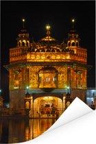 Een van licht gloeiende Gouden Tempel in de nacht van Amritsar Poster 120x180 cm - Foto print op Poster (wanddecoratie woonkamer / slaapkamer) XXL / Groot formaat!
