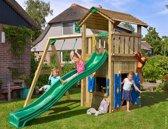 Jungle Gym - Cottage Playhouse 1-Swing - Speeltoestel met Schommel - Met Glijbaan - Donkergroen