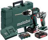 Metabo BS 18 LT Accu Schroefboormachine 18V 2.0Ah Li-ion + Ula+Led + Bitbox 15-dlg.