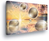 Spheres Grey Canvas Print 60cm x 40cm