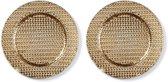 2x Ronde gouden kaarsenplateaus/kaarsenborden met gevlochten patroon 33 cm - onderborden / kaarsenborden / onderzet borden voor kaarsen