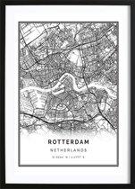 Rotterdam Kaart Poster (21x29,7cm) - Steden - Poster - Zwart Wit - Print - Wallified