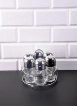 Retro - Zilver kleur kruidenrek inclusief 6 kruidenpotten