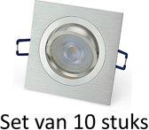 Dimbare Philips GU10 inbouwspot   Zilver vierkant   Set van 10 stuks